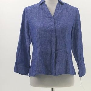 Foxcroft 100 linen hidden button up top shirt 6P
